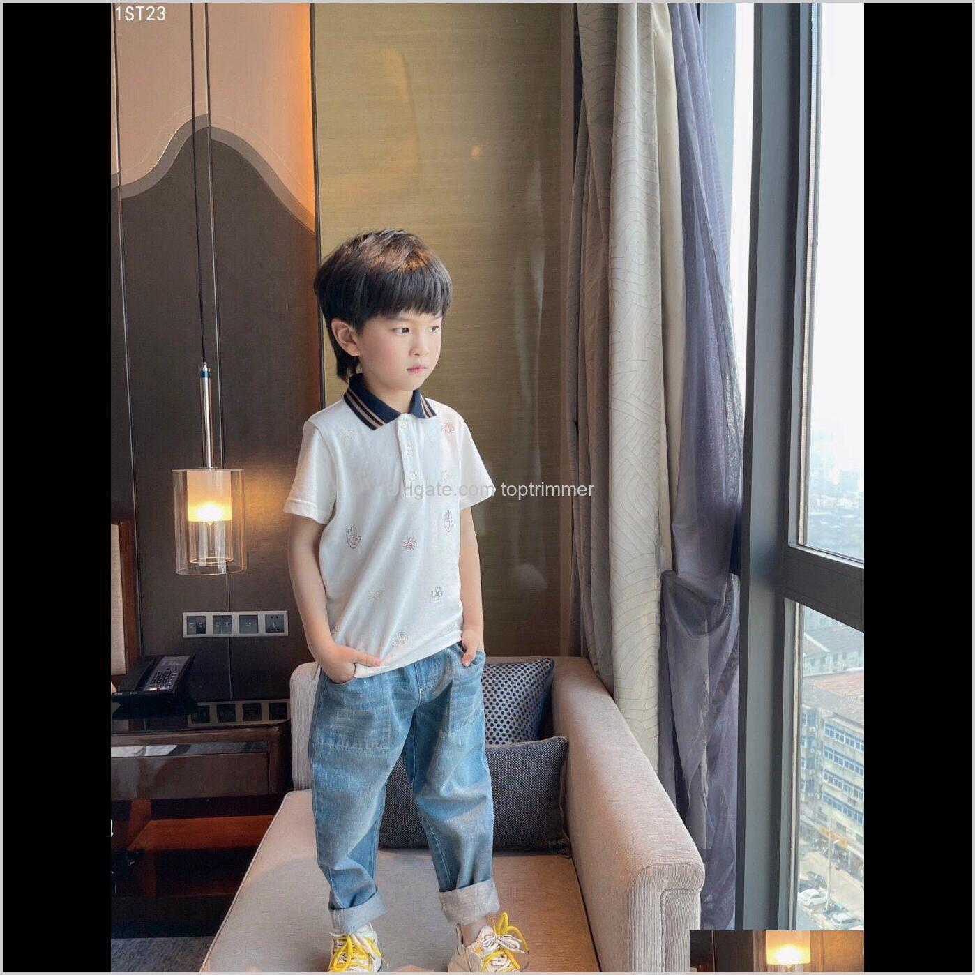 &Tees Baby Clothing Baby, & Maternity Drop Delivery 2021 Toddler Kids Shirt Summer Short Sleeve Tops Cotton Turn Down Collar Pure Color Sport