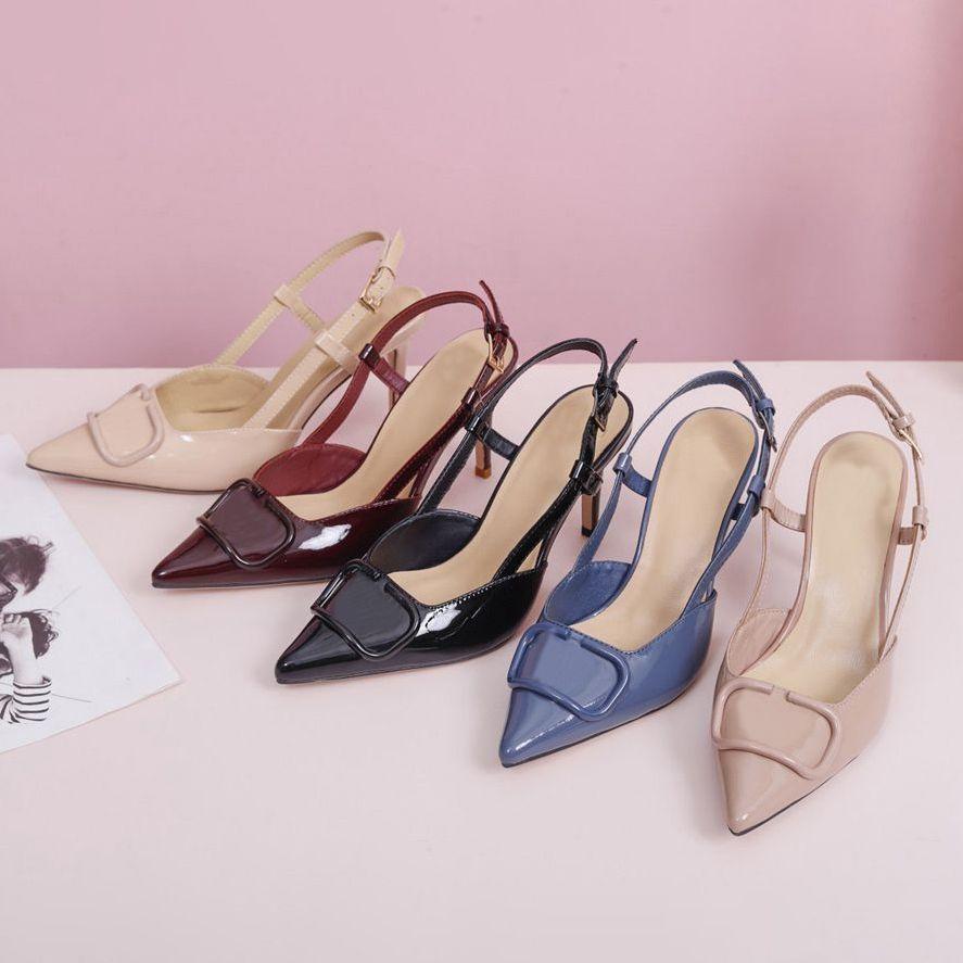 Zapatos de alta calidad para mujeres tacones altos sandalias de color desnudo color puntiagudo sandalia banquete estilista zapato damas vestido shaeess tachonado zapato de cuero con caja