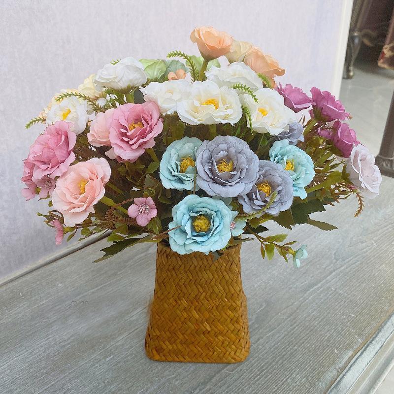 Европейская живопись роза ветка 6 головы искусственные шелковые цветы для свадьбы украшения дома ретро осень белый поддельный цветок декоративный венок