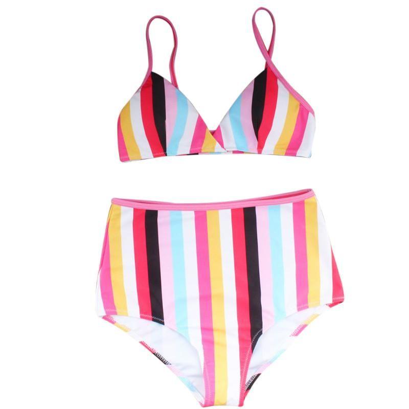Women's Swimwear 2021 Mulheres Cintura Alta Arco-íris Biquíni Push-up Pullded Swimsuit Fio Frete Grátis Beachwear Multicolor Set Y04