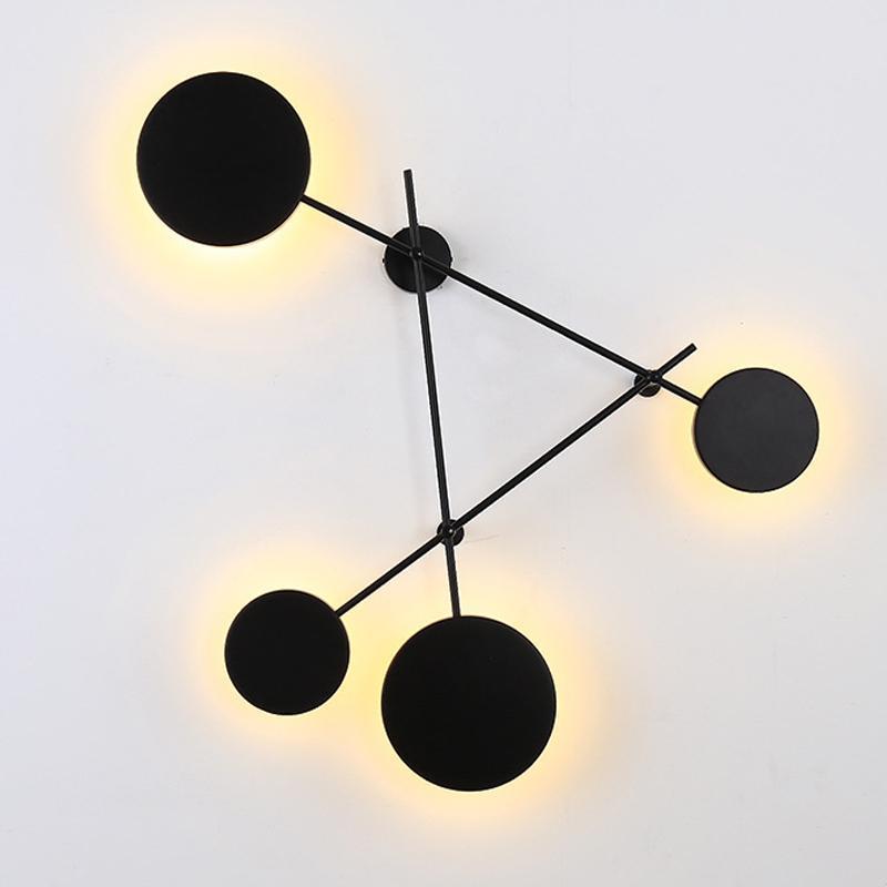 노르딕 스타일 거실 벽 조명 현대 LED 라운드 크리 에이 티브 침실 계단 빛 배경 홈 sconce 램프에 대 한 장식 램프