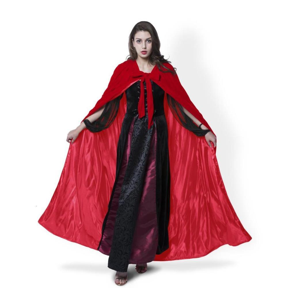 Capa de Veludo Vermelho Com Capuz Capa Unissex Feminino / Masculino Festa Cadılar Bayramı Mas Cosplay Traje Xale