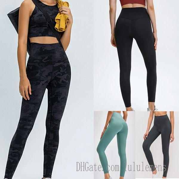 32 Katı Renk Kadın Lu Yoga Tayt Pantolon Yüksek Bel Spor Salonu Giymek Siyah Legging Elastik Fitness Bayan Genel Tam Tayt Egzersiz