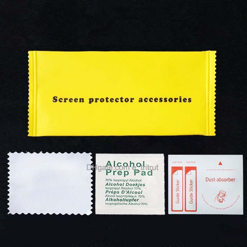 3 em 1 protetor de tela acessórios anti dust gadgets uv limpeza kit de filme temperado saco de álcool para telemóvel filmes protetores de vidro MQ200