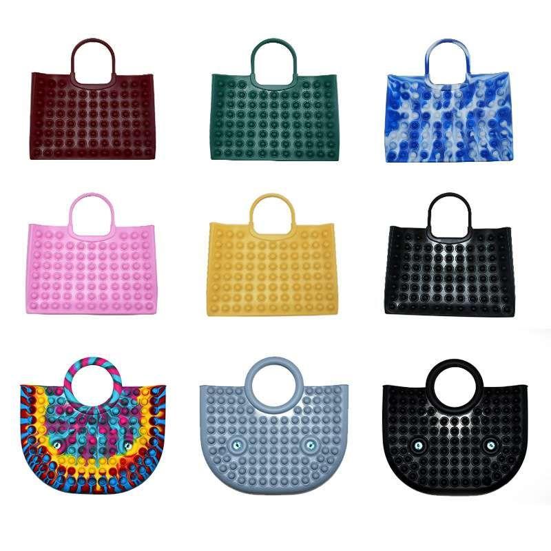 Fashion Women Totes Bags Silicone Push Bubble Fidget Anti Stress Laptop Bag Adults Decompression Part y Favor Gifts FY2946