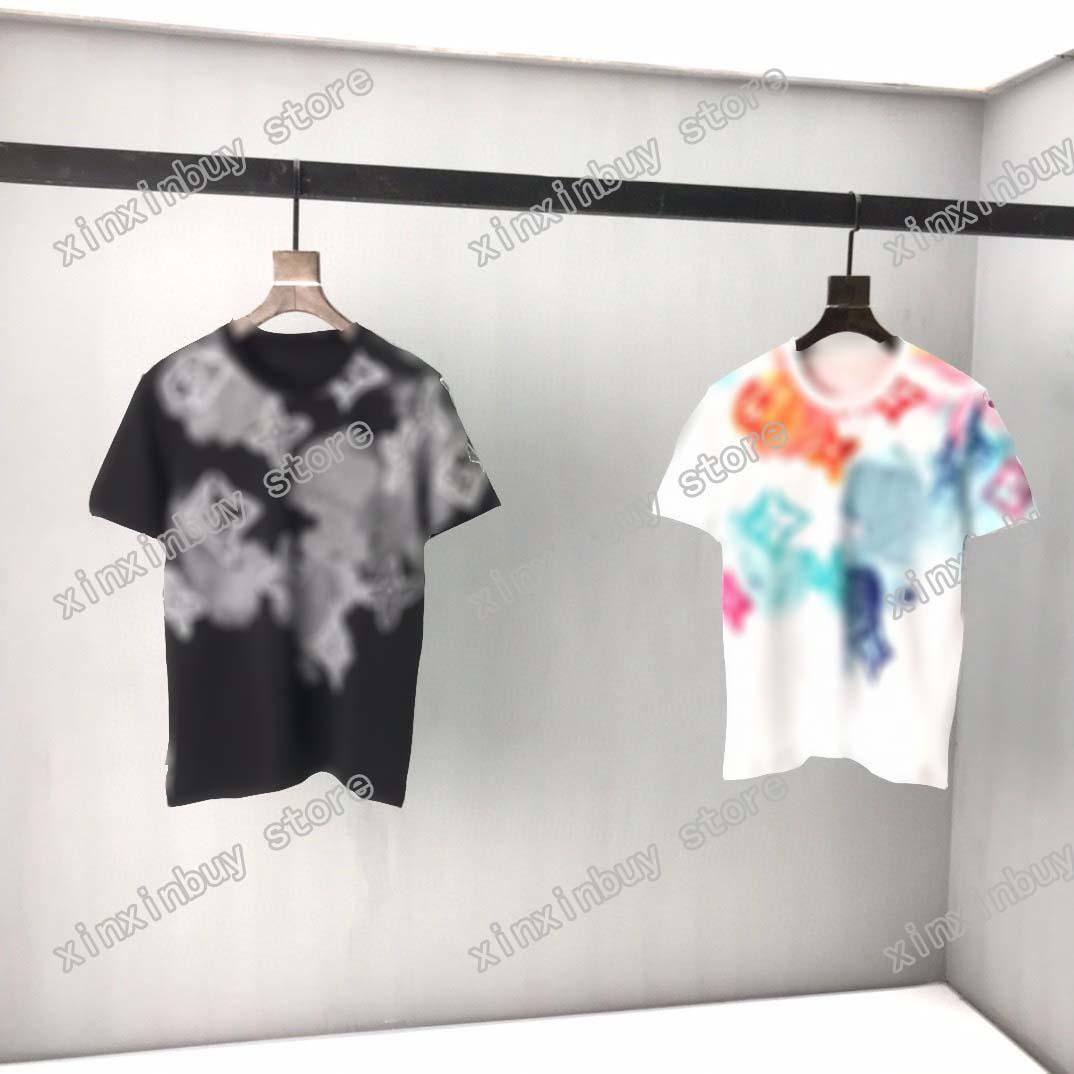 2021 Designer Mens Womens T-shirt flower acqua colore uomo paris t-shirt moda Top Quality Tees Street manica corta Lussurys Tshirts asiatici M-XXL