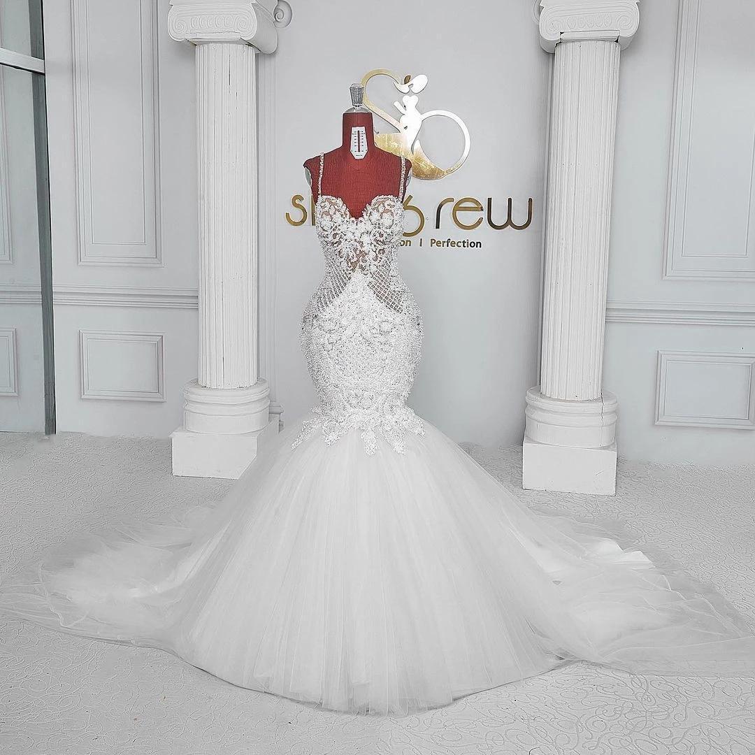 Luxury Crystal Mermaid Wedding Dress With Spaghetti Straps Sequins Summer Sweep Train Sexy Backless Bridal Dresses Custom Made Vestidos De Novia