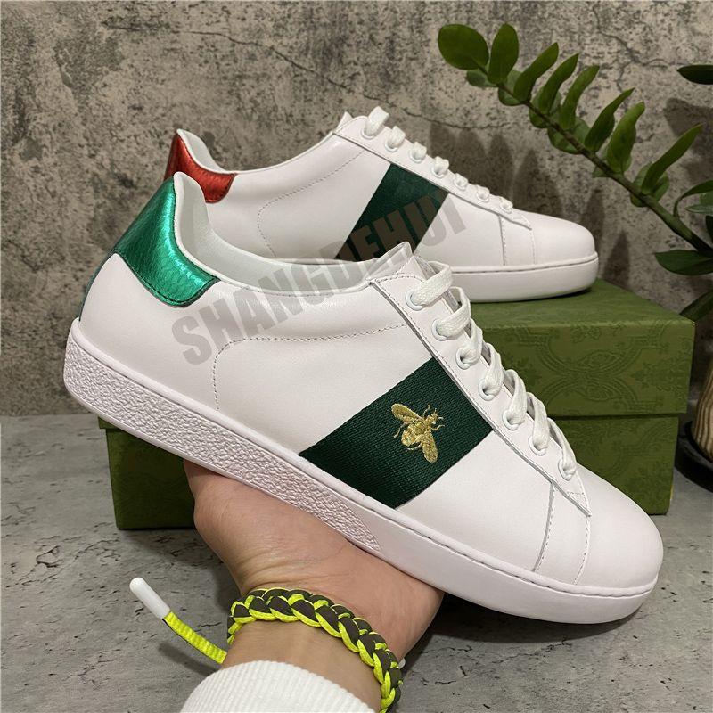 Mode Hohe Qualität Herren Womens Biene Schlange Tiger Cartoons Casual Schuhe Echtes Leder Stickerei Klassiker mit Kastengröße 36-45