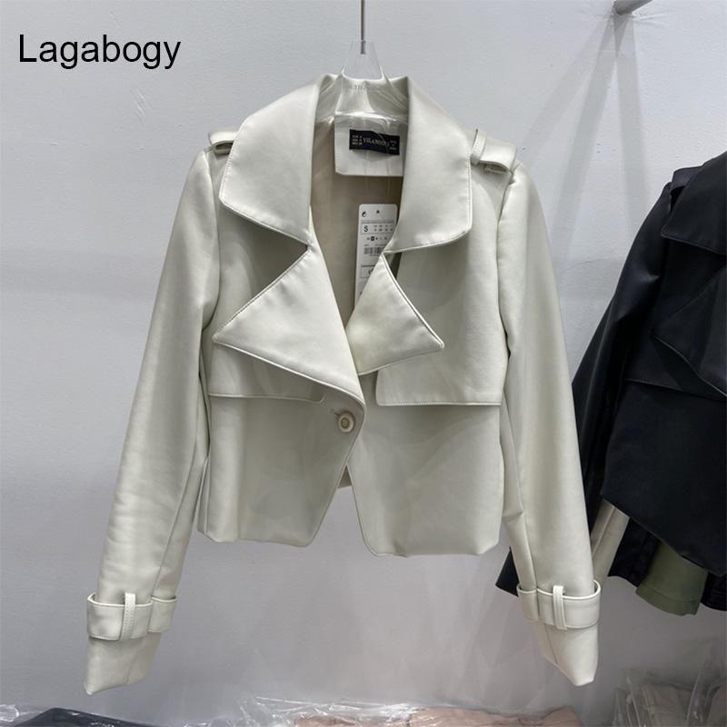 Lagabogia outono mulheres vintage pu jaqueta de couro feminino curva colarinho único botão curto senhoras slim streetwear outwear feminina feminina
