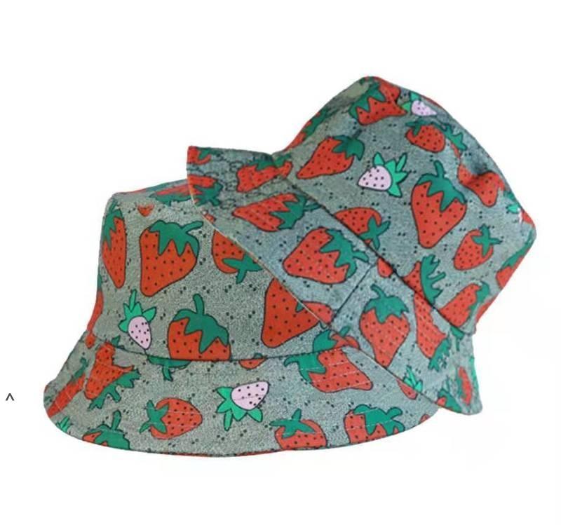 편지 딸기 인쇄 야구 모자 여성 면화 조정 가능한 두개골 스포츠 골프 곡선 고품질 선인장 태양 모자 NHF6326