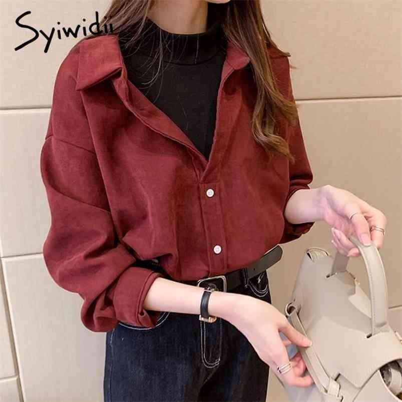 Syiwidii Corduroy Blouses Поддельные две части рубашки плюс размер одежды для женщин блузки топы старинные корейские твердые красные желтые вскользь 210415