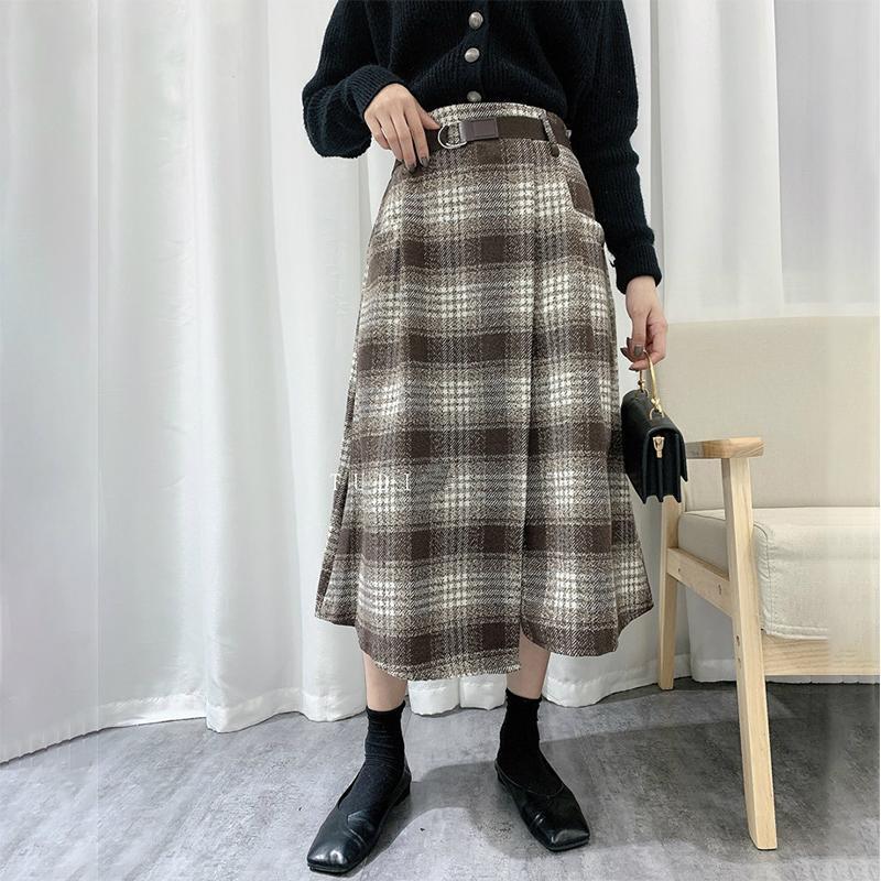 Старинные элегантные плед MIDI длинные юбка женщины осень зима Корейский мода проверено теплая линия офис женщина женские юбки