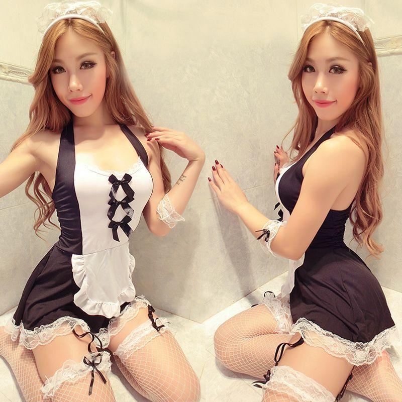 Sexy Suit Sexy Underwear Cute Hanging Neck Lace Maid Uniform Allure Princess Nightclub Role Play
