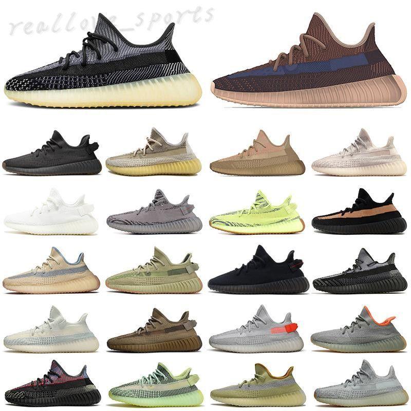 2021 Sésamo de mantequilla 35 V2 Runnin Shoes Skets Mens Sneakers Blue Tint Triple White Womens Zebre Cred Trainers Tamaño36-45 TA01