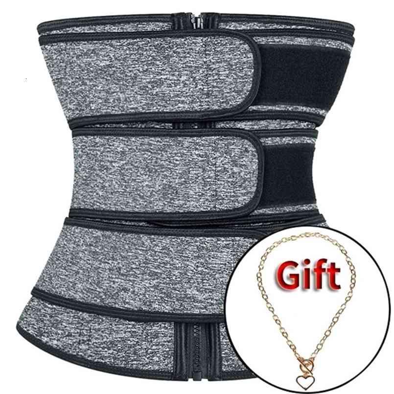 3 Belt Zip Waist trainer body shaper plus size wasit trainer womens belly control sweat belt cinta modeladora waste trainers 201223