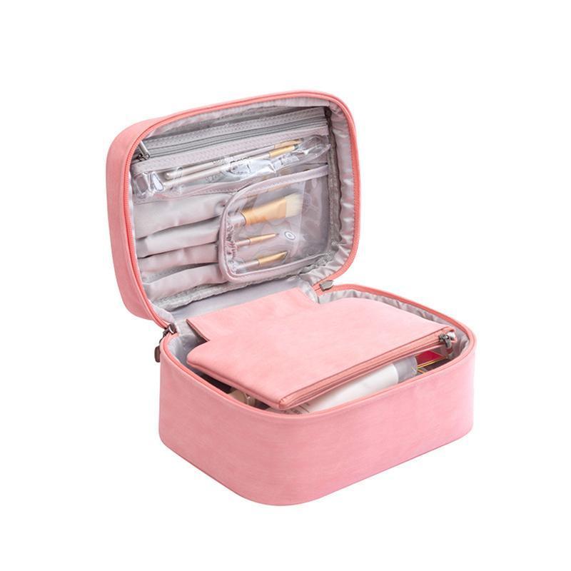 Travel Portable Toot Maquillage Outils de maquillage Pour femme Fille Fille Cosmetic Sac Sac Storage Organisateur avec poignée Accueil Sacs de grande capacité Étui