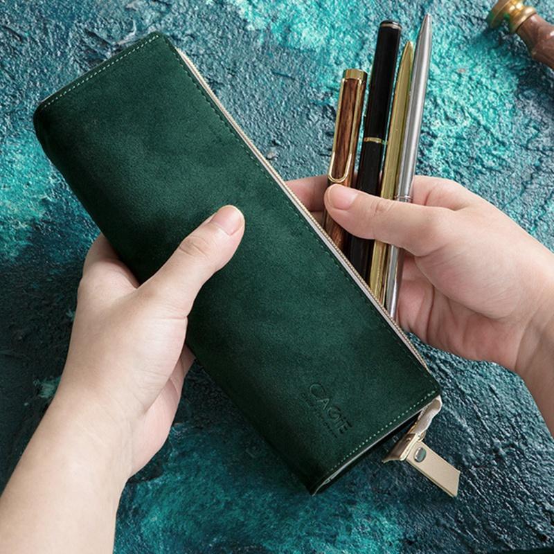 Étui à crayons Petite poche en cuir pour les filles et les adultes maquillage de stylos maquillage marqueurs de stylos (vert) Sacs