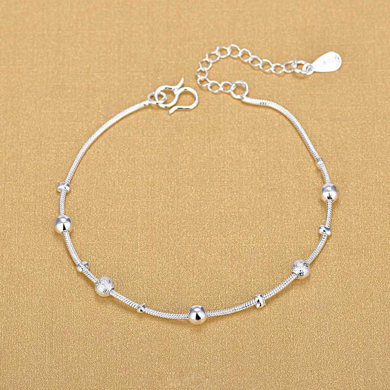 High grade women's silver bracelet, snake chain jewelry, 925 pure silver, large and small beads, bead bracelet, gift 2020 J0527