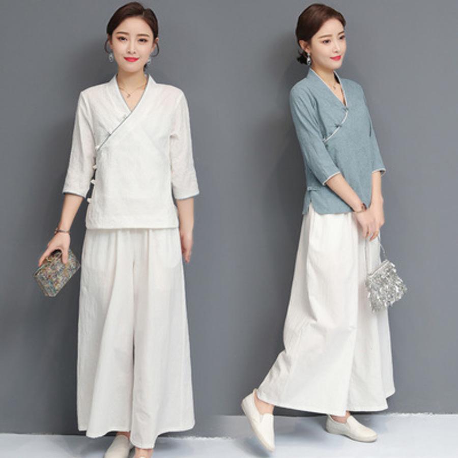 and Summer Spring Chinese Style Cotton Hemp Yoga Women's Jacquard Hanfu Ju Shi Fu Zen Tea Man Two Piece Suit 974J