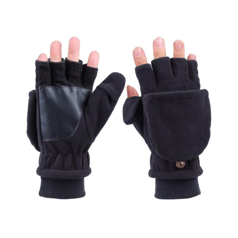 Luvas de ciclismo Cobertura adulto capa de fita de meia-dedo engrossar quente windproof windproof miwith botão - homens (preto)