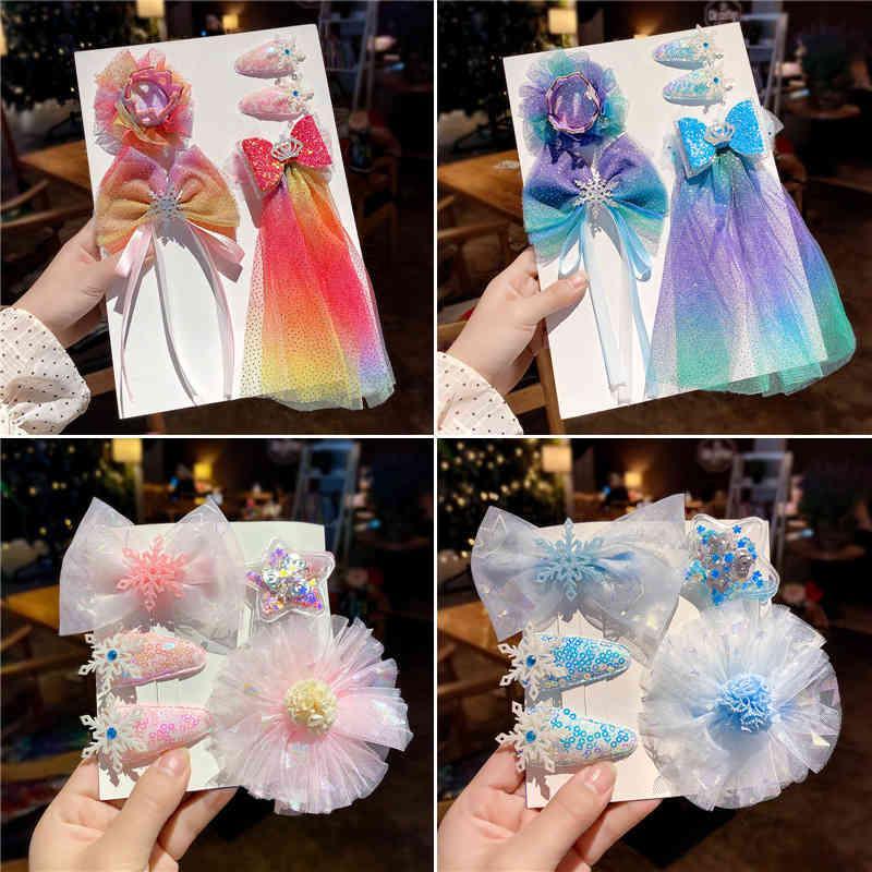 Yeni Buz ve Kar Wonderland Firkete Seti Kore Çocuk Firkete Prenses Headdress Rhinestone Yay Bandı Fırın