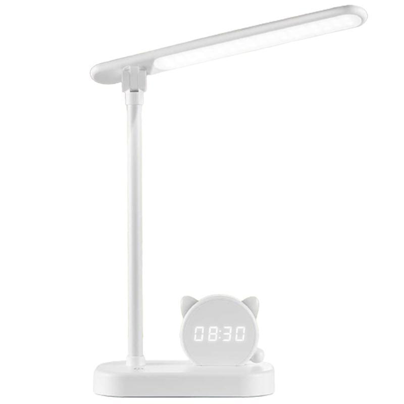 Table Lamps Kids Led Desk Lamp,Cute Small USB Charging Ports Portable Study Reading Lights,Pen Holder Clock Eye Care Adjustable