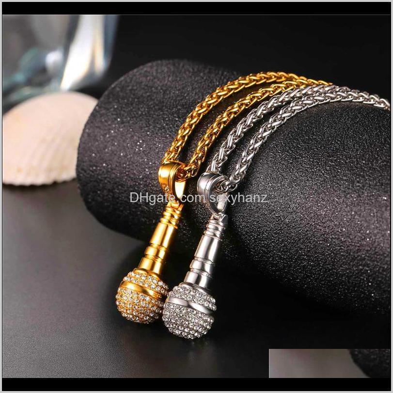 Necklaces & Pendants Drop Delivery 2021 Ice Out Chain Necklace Microphone Pendant Men /Women Stainless Steel Gold Color Rhinestone Friend Jew