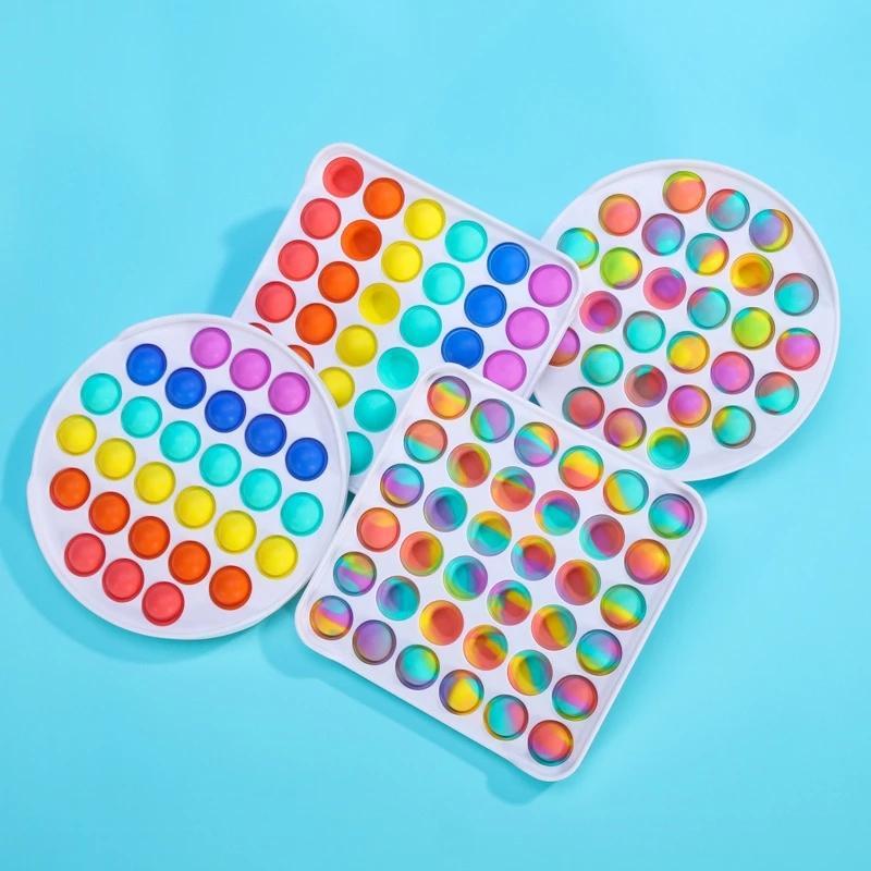 Colorido Fidget Push Bubble Bubble Sosor Squishy Toy Reliever Autism Need Need Need Rainbow ANTRESS STRIQUERO NIÑOS PARA NIÑOS DE NIÑOS