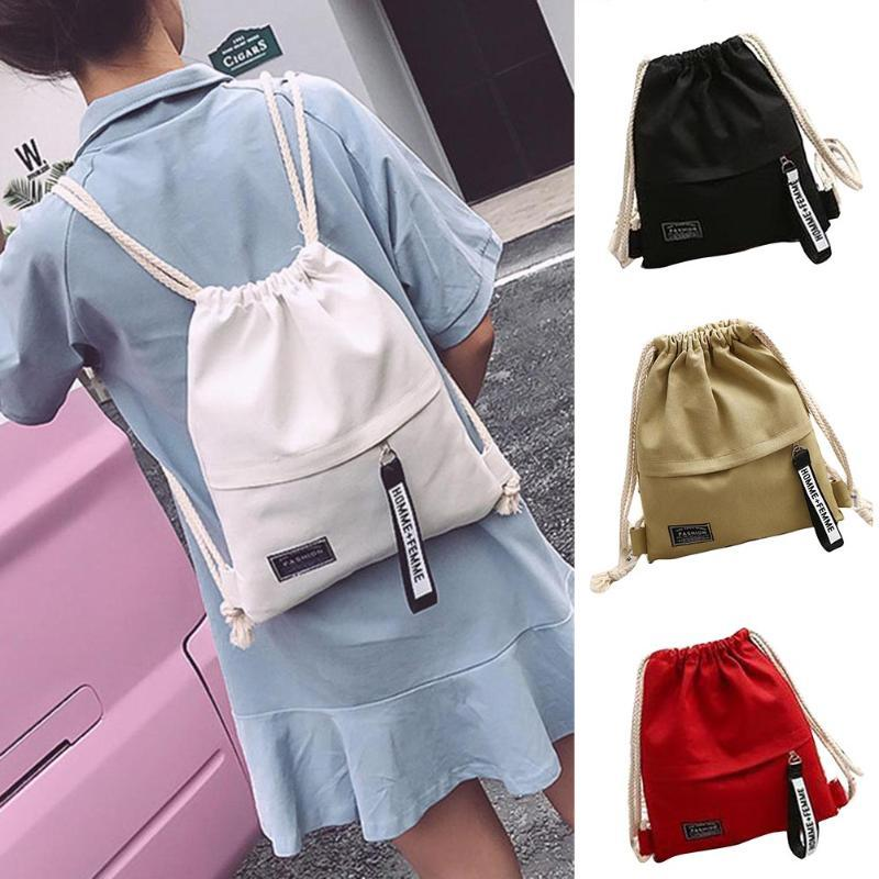 Selling Women Canvas Storage Drawstring Bag Rucksack Backpack Casual For School Travel