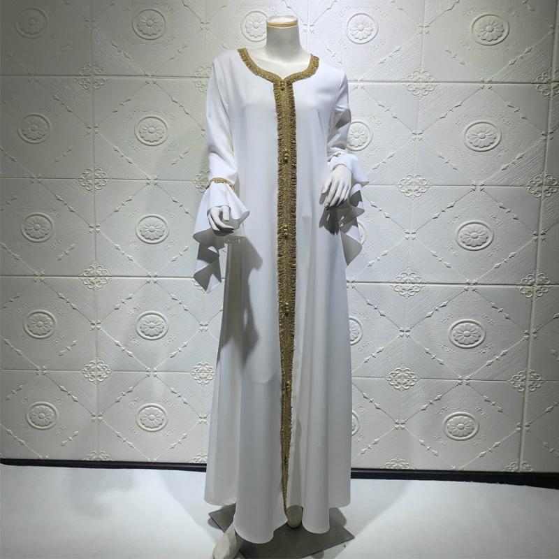 Abbigliamento etnico Eid Arabo Arabo Musulmano Abaya Plus Size Dress Long For Donne Manica Bianca Marocchino Kaftan Kaftan con cappuccio Robe turco ISLAMICA JALABIYA