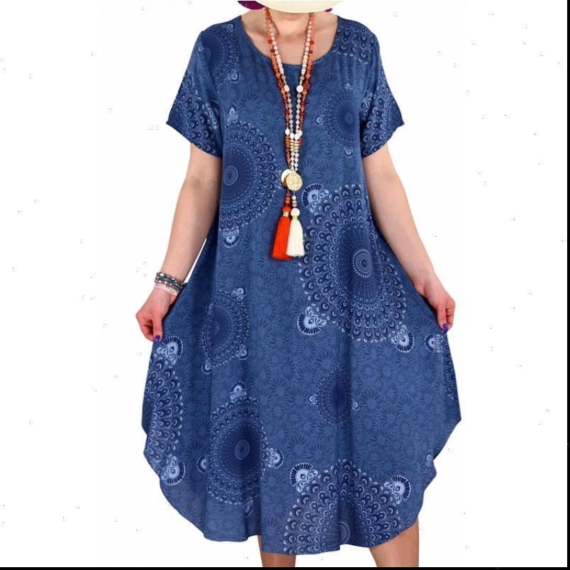 Estate Boho Stampa Abiti da donna Abiti da donna Mid Long Long Manica Corta Etnica Sundress Plus Size 5XL Beach Vestido Verano