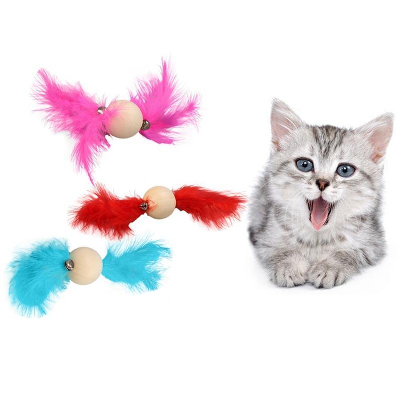 Кошка игрушки лесистые шаровые игрушки с колокольчиком и красочным пером для кошек интерактивное домашнее животное, играя деревянные прокат 2 020