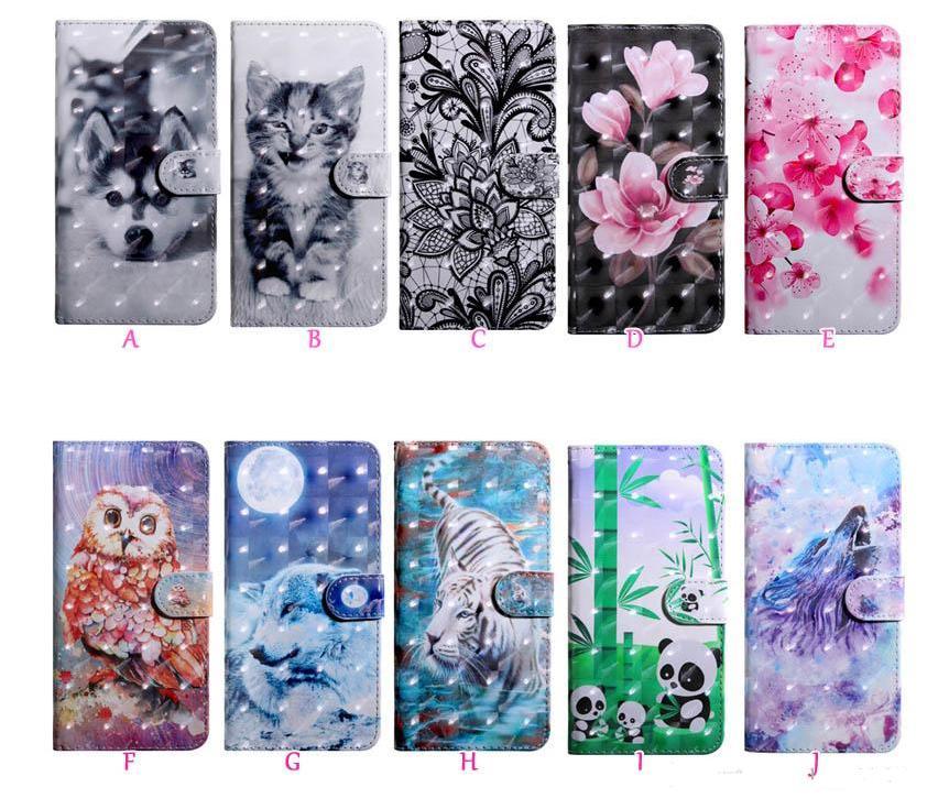 Casos de carteira de couro 3D para Samsung Galaxy A41 A31 A11 iPhone Se Flower Dog Lace Lobo Tigre Cat Owl Luxury Card Slot Capa de Aleta