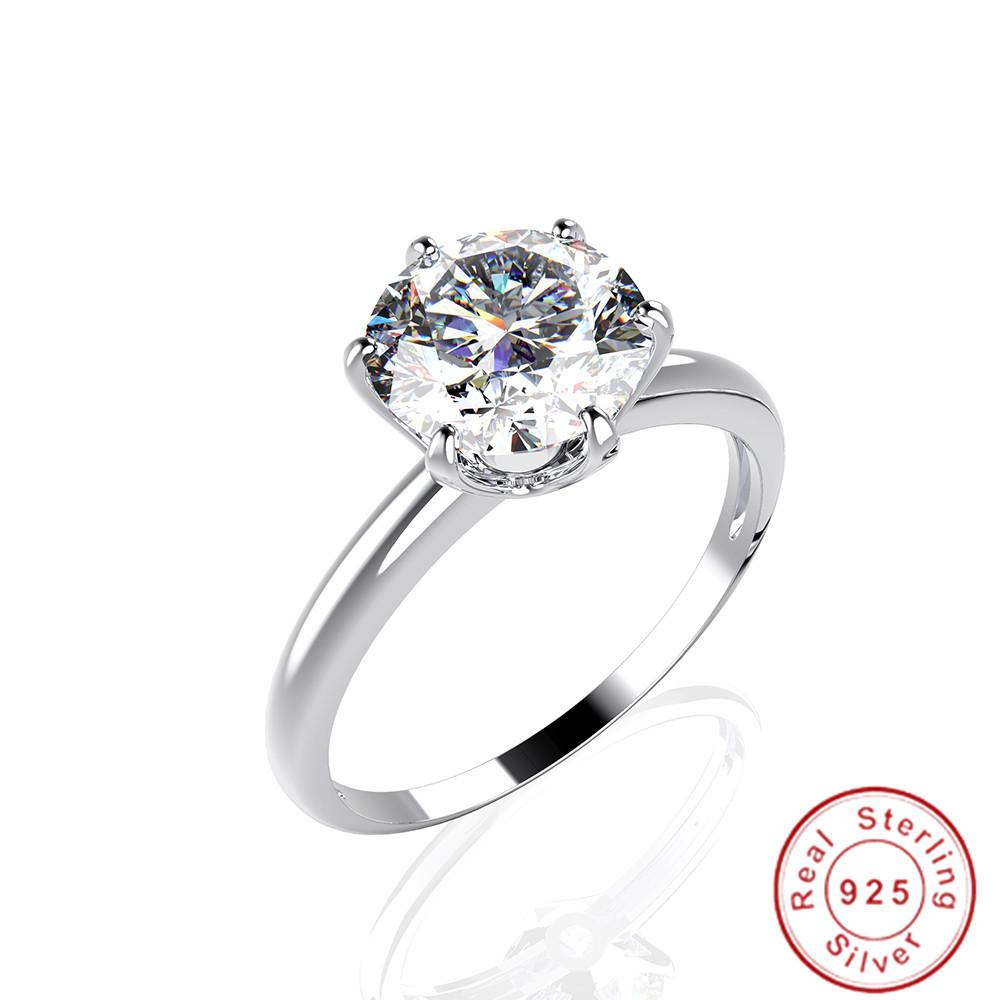 Fashion Six Claws 100% 925 Sterling SILVER 2ct Round Simulated Diamond Cocktail WEDDING Rings Finger For Women JEWELRY Whole