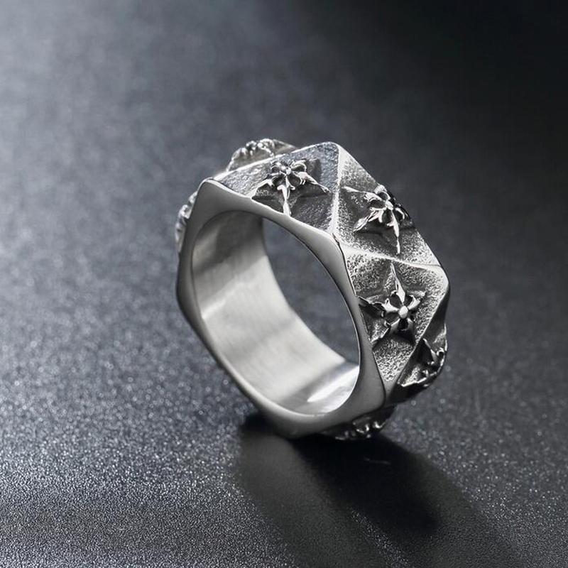 Mode Silber Kreuz Marke Retro Titan Finger Ring Persönlichkeit Punk Vintage Herren Edelstahl Hip-Hop Rock Motorrad Ringe Schmuck Zubehör