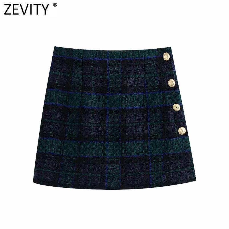 Femmes Vintage Plaid Imprimer Tweed Wood Back Back Zipper Slim Mini jupe Faldas Mujer Boutons latéraux de ladge chic jupes chics qun692 210420