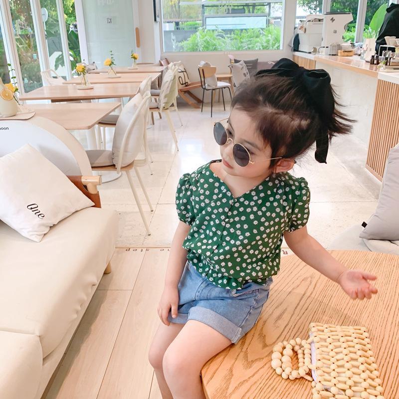 여름 귀여운 소녀 패션 데이지 쉬폰 셔츠 아기 소녀 부드러운 V 넥 2 색상 의류