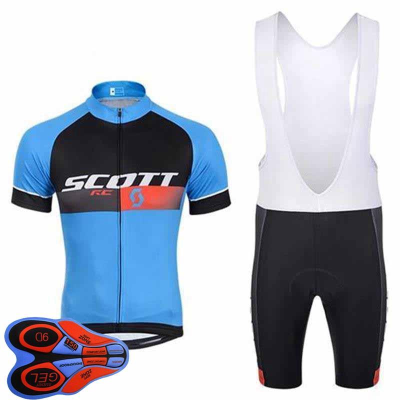 Juego de ciclismo para hombre Jersey 2021 VERANO SCOTT EQUIPO CAMISETA CORTE CAMISETA BIB BIB Trajes de babero Trajes rápidos Ropa de carreras de secado rápido Tamaño XXS-6XL Y21041082