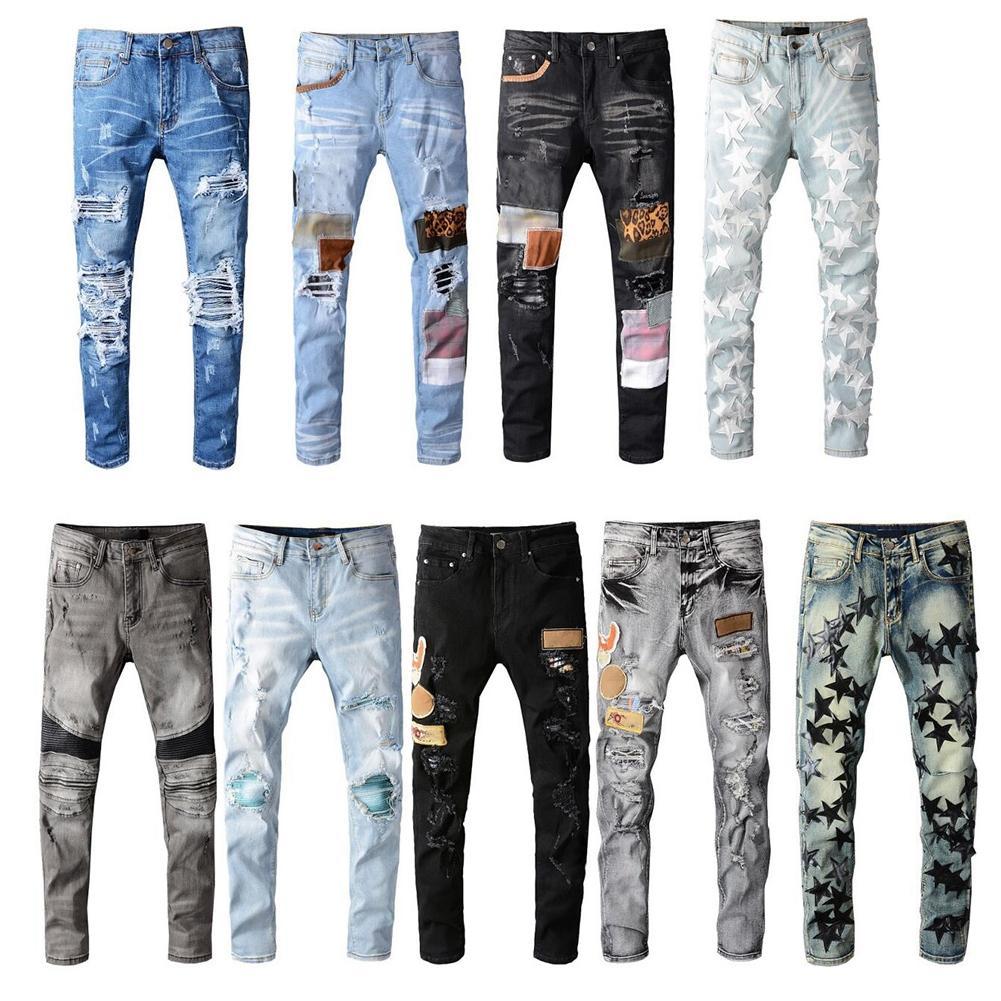 Mens en détresse Biker Chiker Jeans Slim Fit Moto Biker Denim pour hommes Mode Designer Hip Hop Hommes Jeans de bonne qualité