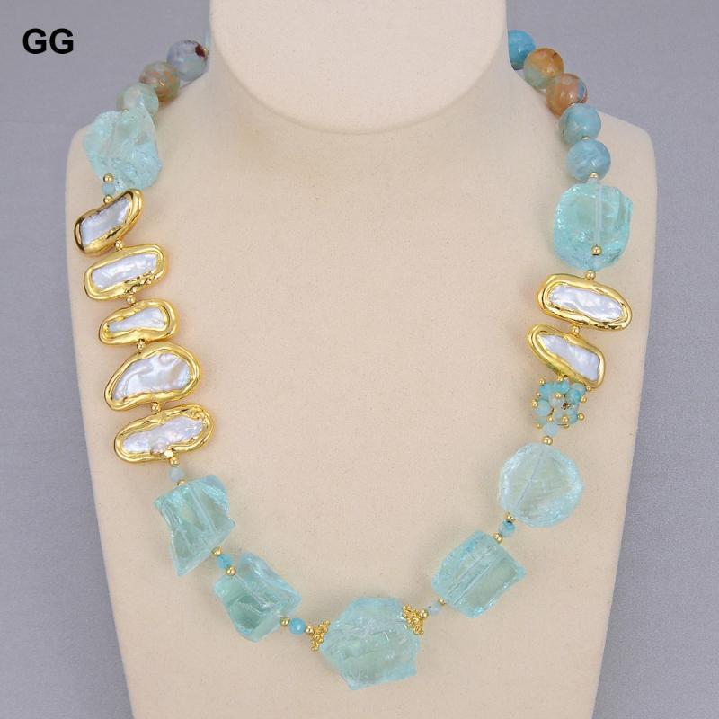 """مجوهرات الزجاج الأزرق الطبيعي الكوارتز خشن بيضاء بيضاء لؤلؤ المياه العذبة جولة العوضة المختنق قلادة 21 """"خمر للنساء سلاسل"""