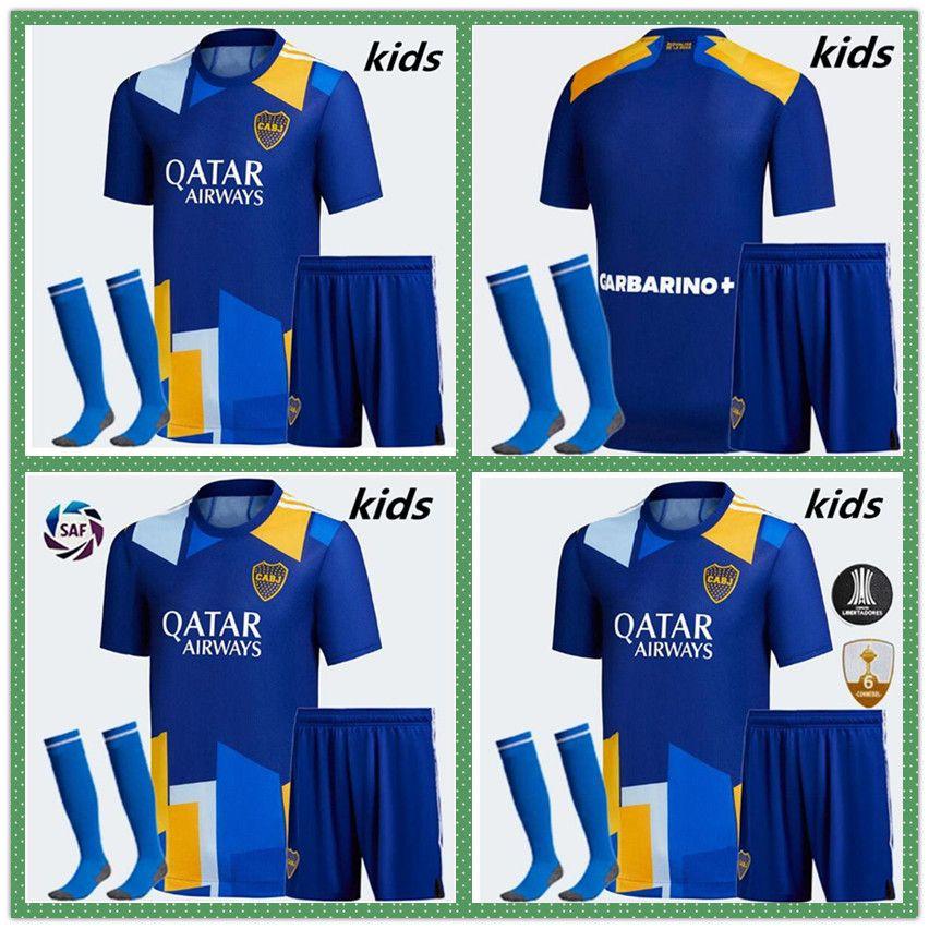 20 21 22 Boca Juniors Third Kid Kit Soccer Jersey 2021 2022 الصفحة الرئيسية الفانيلة Perez de Rossi Tevez كرة القدم