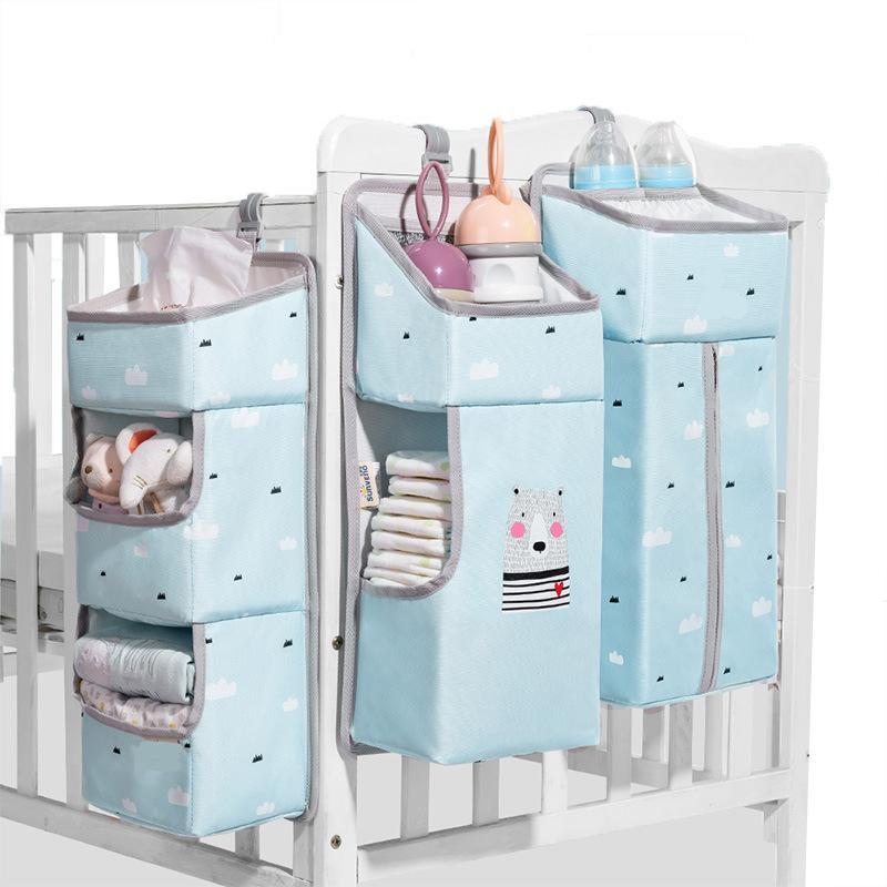 Organizador de berço Sunen para bebê berço pendurado saco de armazenamento de roupa de bebê organizador de caddy para essencials bedding fralda fralda e saco 796 y2