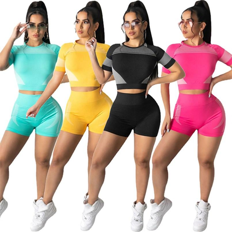 Women Tracksuits 2 piece set summer clothes cycling fitness yoga wear t-shirt shorts sweatsuits pullover leggings outfits crop top vest tee tops bodysuit gym 01609