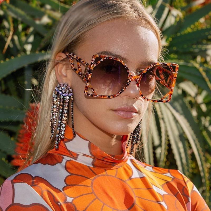 Sokak Moda Güneş Gözlükleri Adam Kadın Unisex Güneş Gözlüğü Benzersiz Kişilik Büyük Çerçeve UV400 Tam Çerçeve 6 Renk İsteğe Bağlı