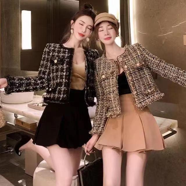 Leiouna Vintage Lady Tweed Coat Court Femme Femme Veste Automne Vêtements De Vêtements De Vêtements De Channel Culture Culted Kawaii Vestes pour femmes coréennes