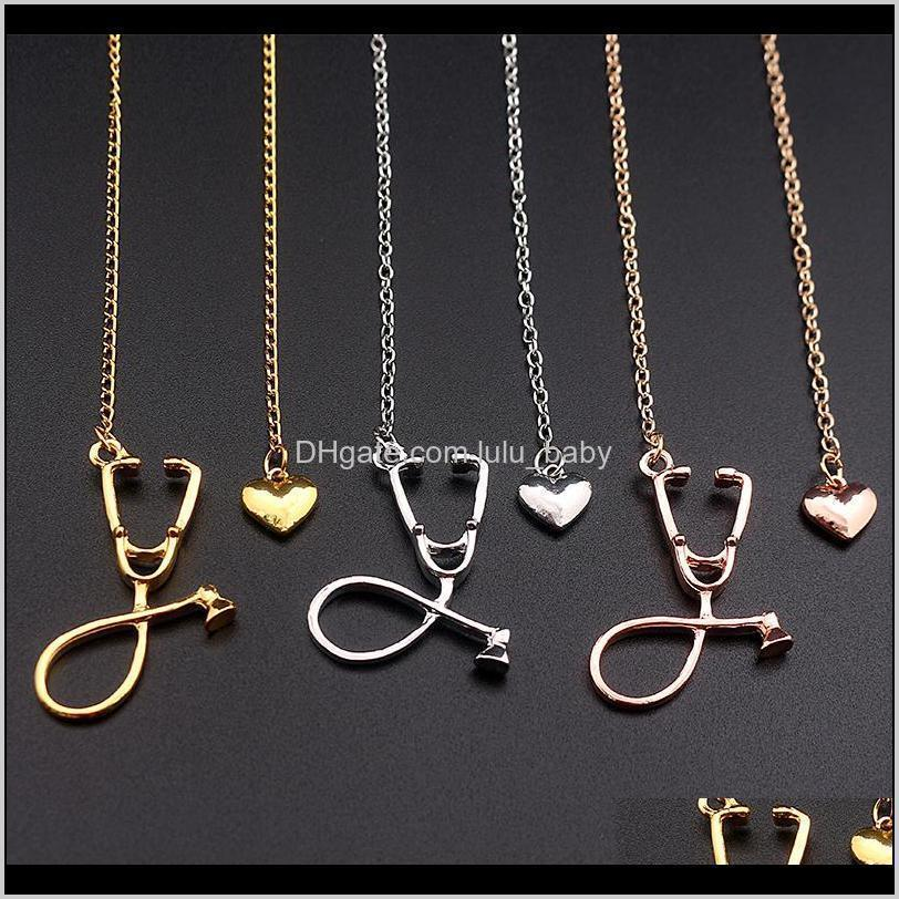 Necklaces & Pendants Jewelry Drop Delivery 2021 Stethoscope Lariat Heart Pendant 3 Colors Rose Gold/Gold/Sier Est Nurse Medical Necklace Ghvs