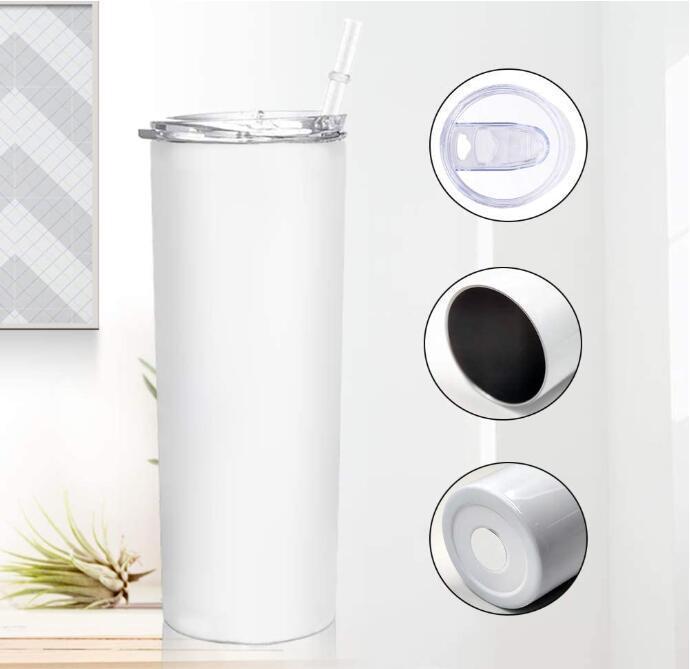 20 oz Sublimación en blanco Tumblers rectos de acero inoxidable Transferencia de calor Tazas con tapa y paja de plástico CYZ3086