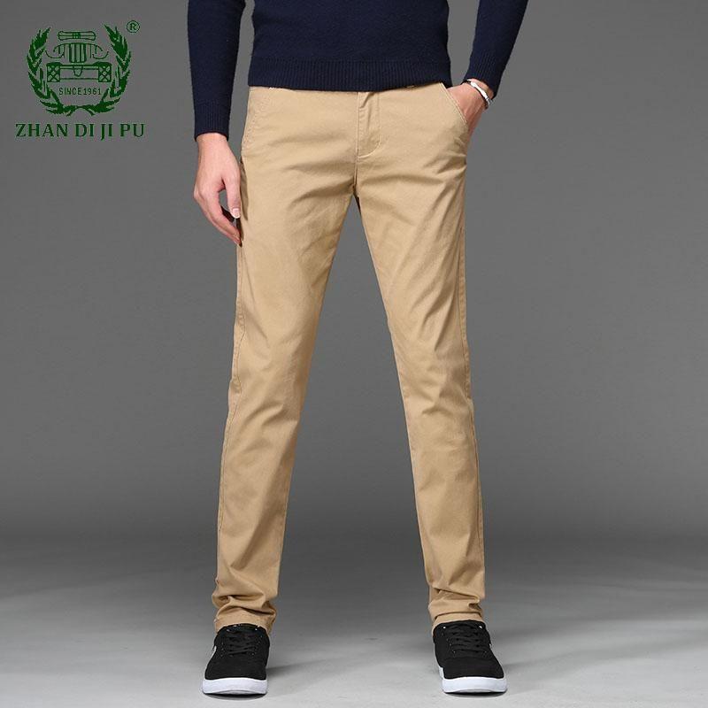 الرجال السراويل العلامة التجارية بانت الكلاسيكية عارضة الأعمال تمتد السراويل الرجال العادية مستقيم أسود أزرق الكاكي 4 ألوان زائد الحجم 44 46