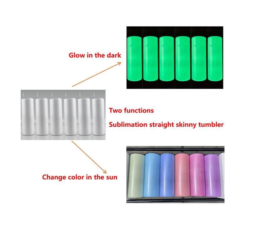 Sublimação de tumblers luminosos retos e cor UV Channging copos de isolamento garrafa de água de água caneca A02