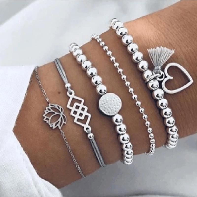 Bohemio Multi Capa Lotus Corazón Tassels Charm Bracelets Bangle 5pcs / Set Vintage Bead Boho Boho Playa Pulsera para las mujeres Accesorios de joyería Pulseras Bijoux Regalo